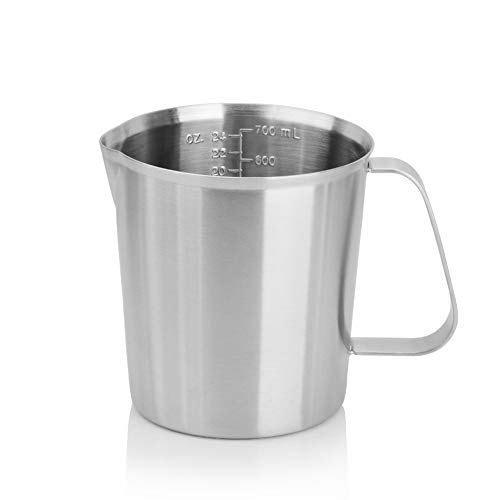 Duolo Stainless Steel Liquid Measuring Cup Milk Espresso Coffee Frothing Pitcher with Precise Measurement Perfect for Milk Frother Coffee Latte Art Maker and Baking Lovers (24-Ounce/700ML) ()