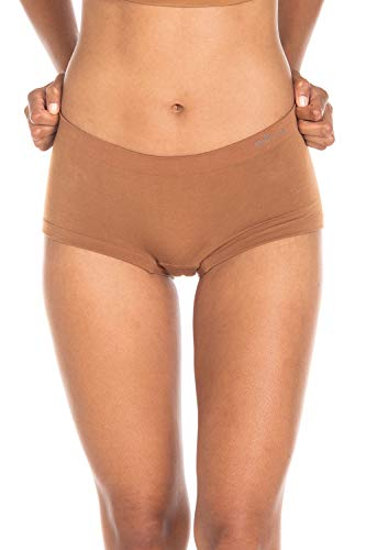 Boody Body EcoWear Women's Boyleg Briefs Seamless Boyshort Underwear Made from Natural Organic Bamboo Viscose – Soft Breathable Eco Fashion for Sensitive Skin - Nude 4, X-Small