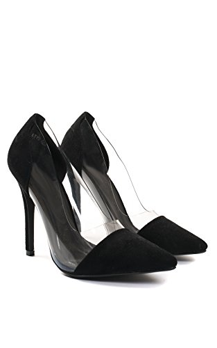 Ikrush Womens Alicia Clear Panel Court Heels Black 6Uapc
