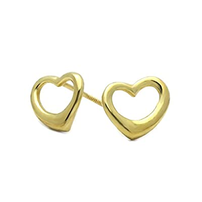 14K Yellow Gold Plain Gold Heart Screwback Stud Earrings by Double Accent