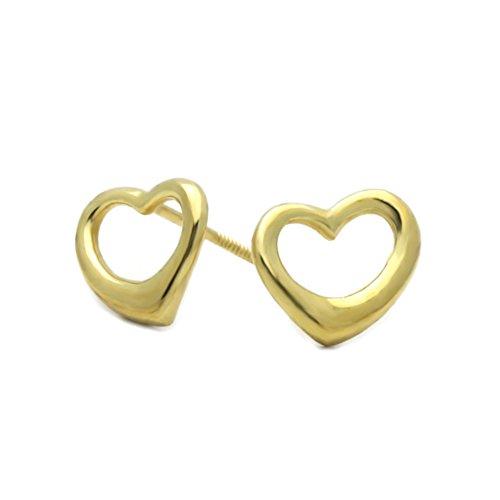 14K Yellow Gold Plain Gold Heart Screwback Stud - Earrings Heart Double Gold