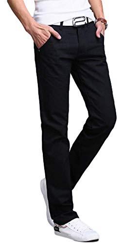 - AIK Men's Slim Stretchy Casual Chinos Pants Tapered Work Weekend Office (Black, 30)