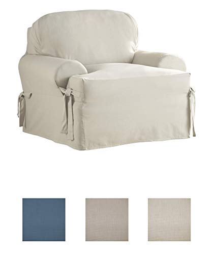 Grand Chair Slipcover - Serta | Relaxed Fit Durable Woven Linen Canvas Furniture Slipcover (T-Chair, Natural)