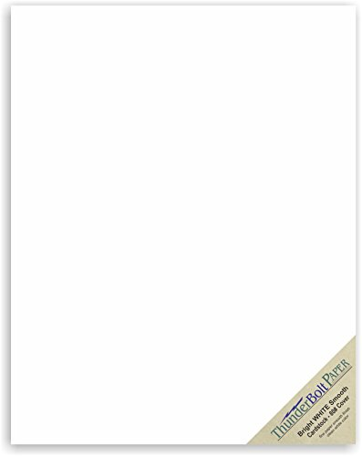"50 Bright White Smooth 80# Card Paper Sheets - 11"" X 14"" (11X14 Inches) Scrapbook