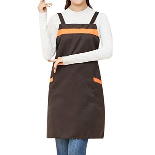 GateLie Unisex Fashion Color Patchwork Cooking Chef Apron Casual Kitchen Restaurant Bib Dress Apron with Pockets (Coffee)