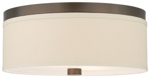 Forecast Lighting F1318-20 Embarcadero Two-Light Flushmount with Vanilla Fabric Shades and Etched White Glass, Sorrel (Sorrel Bronze Finish)
