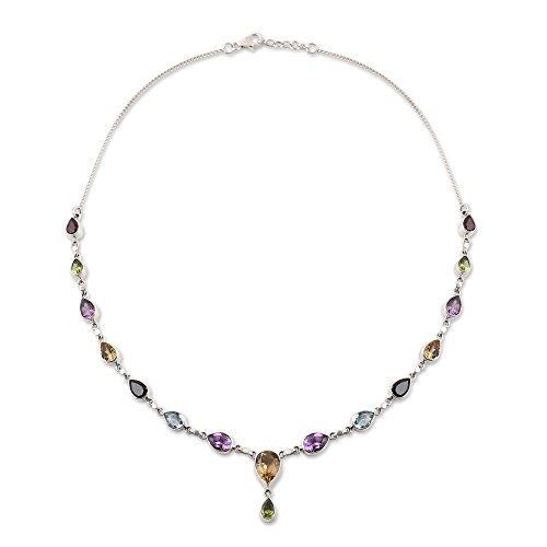 NOVICA Multi-Gem Amethyst .925 Sterling Silver Pendant Necklace, 19