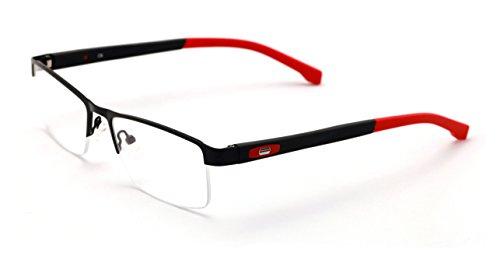V.W.E. Men Half Rimless Rectangular Non-prescription Glasses Frame Clear Lens Eyeglasses TR90 (Red)