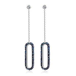 KesaPlan Swarovski Crystal S925 Sterling Silver Earrings Blue Crystal Drop Earrings for Women Minimalist Dangle Earrings…