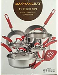 Rachael Ray 77911 Stainless Steel Cookware Set, Large, Red Handles