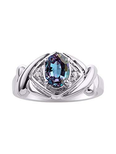 Diamond & Simulated Alexandrite Ring Set In Sterling Silver - XOXO Hugs & Kisses Design