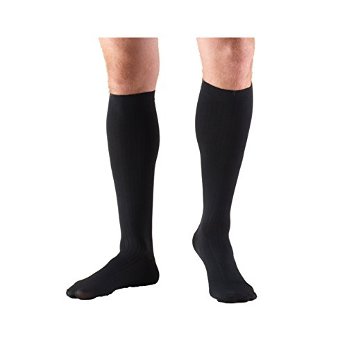Truform Men's Knee High 8-15 mmHg Compression Dress Socks, Black, X-Large
