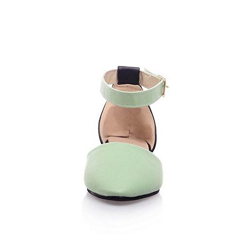 AalarDom Mujer Hebilla Puntera Cerrada Mini Tacón Sandalias de vestir Verde