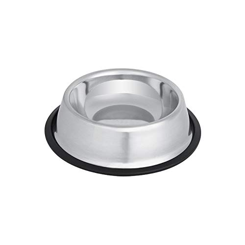 Dog Bowl Stainless Steel Standard Pet Dog Puppy Cat Water Bowl Food Container Dish 4 Size for Cat Feeder,Silver,22cm