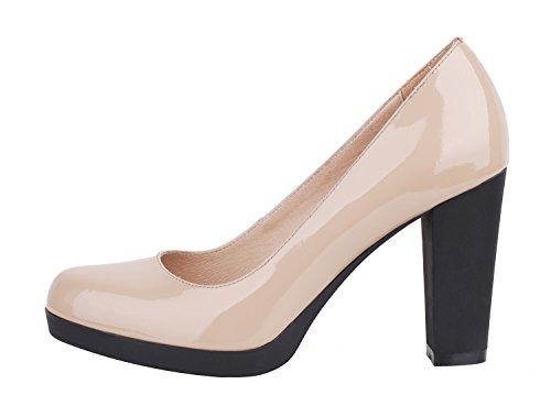 queenfoot Women's Elegant Almond toe Chunky Block Heel Platform Genuine Leather Pump Shoes Nude Patent 8 B(M) US