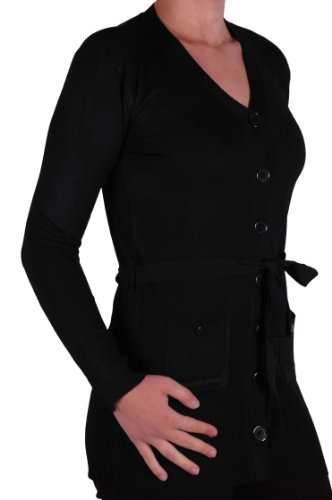 Classic Womens Plain Belted Cardi Knitted Ladies Belted Cardigan One ()
