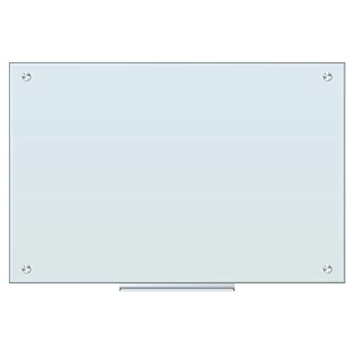 U Brands Magnetic Glass Dry Erase Board, For Use with High Energy Magnets, 35 x 23 Inches, White Frosted Surface, Frameless