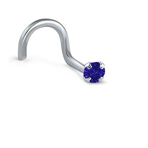Titanium Right Nostril Screw Nose Ring 2.5mm Round Stone Navy Blue 18G