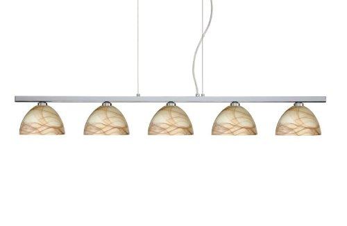 Besa Lighting 5LP-467983-PN 5X40W G9 Brella Pendant with Mocha Glass, Polished Nickel Finish