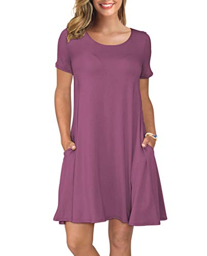 Stripe Mauve Floral - KORSIS Women's Summer Casual T Shirt Dresses Short Sleeve Swing Dress with Pockets Mauve XXL