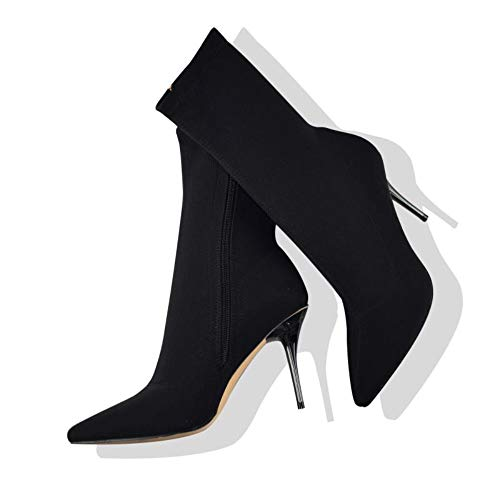 Pointed Heel Stiletto High (Vivi Women Black Stretch Lycra Stiletto High Heels Pointed Toe Mid-Calf Boots Size 8)