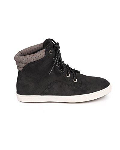 Liliana Da71 Donna Sneaker Alta Stringata Con Laccio In Corda Scamosciata Bicolore Suede - Nero