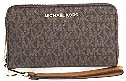 Michael Kors Jet Set Travel Large Flat Multifunction Phone Case Wristlet (Brown 2018)