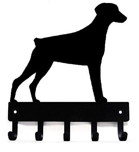 The Metal Peddler Doberman Natural Ears Key Rack Dog Leash Hanger  Small 6 inch Wide
