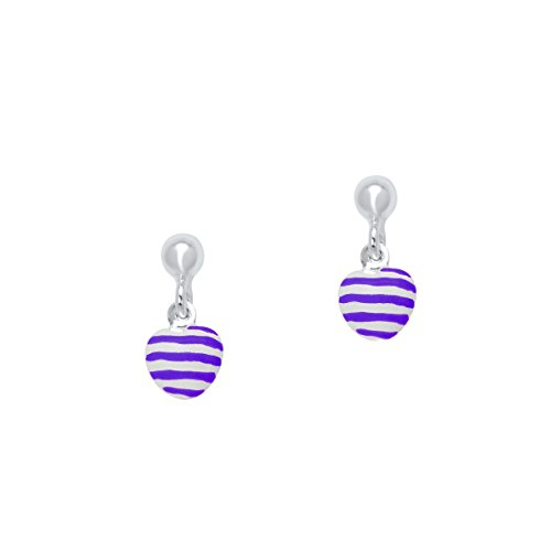 UNICORNJ Sterling Silver 925 Childrens Earrings with Enamel Purple Striped Heart Charm Italy