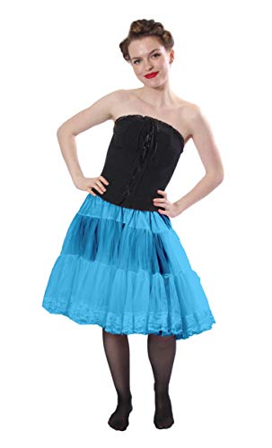 - Malco Modes Luxury Vintage Knee-Length Crinoline Petticoat Skirt Pettiskirt, Adult Tutu for Rockabilly 50s Square Dance or Lolita Dress; Plus Size Petticoat Available Light Blue