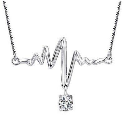 Around 101 Women S925 Sterling Silver AAA Zircon Lifeline Heartbeat Pendant Necklace