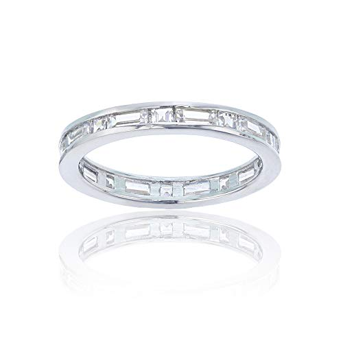 Decadence Women's Sterling Silver Rhodium Princess and Baguette Cut Eternity Band, ()