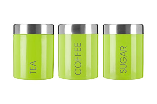 Premier Housewares Liberty Tea Coffee and Sugar Canisters - Lime Green, Set of 3 by Premier Housewares
