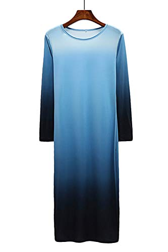 Dye Casual WIWIQS Light Tie Blue Tank Dress Long Top Maxi and Black Women`s Ombre Dress p00rqxEw