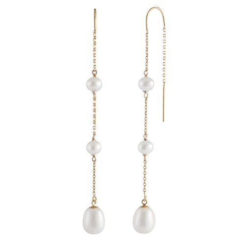 Handpicked AAA+ 4-5mm Full Drilled and 7.5-8mm White Rice Freshwater Cultured Pearls in 14K Yellow Gold U-Threader Chain Through Drop Dangling Earrings