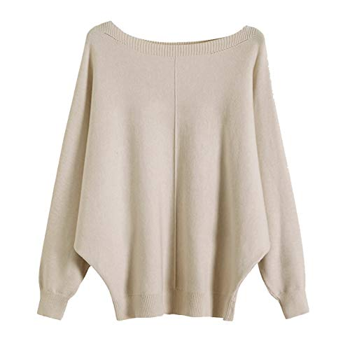 GABERLY Boat Neck Batwing Sleeves Dolman Knitted Sweaters and Pullovers Tops for Women (Beige-2, One Size) (Best Cashmere Sweater Brands)