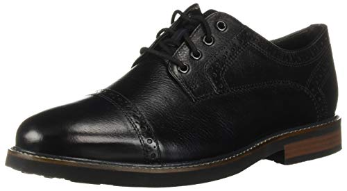 Nunn Bush Men Overland Cap Toe Oxford Lace Up with with KORE Technology, Black Tumbled, 10 Wide