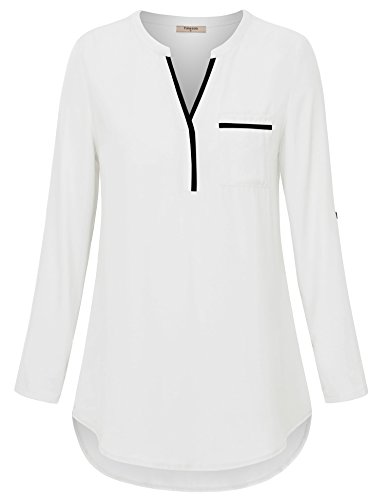 Timeson White Blouses for Women, Womens V Neck Shirts 3/4 Roll Sleeve Chiffon Blouse for Casual Business Work Loose Fit Dressy Tunics Blouses Shirt Tops for Junior White XX-Large by Timeson (Image #1)