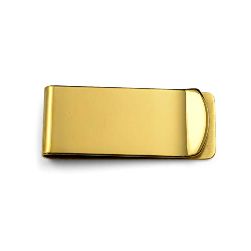 Bling Jewelry Basic Wide Strong Money Clip for Men Plain Engravable Credit Card Gold Plated Tone Stainless Steel