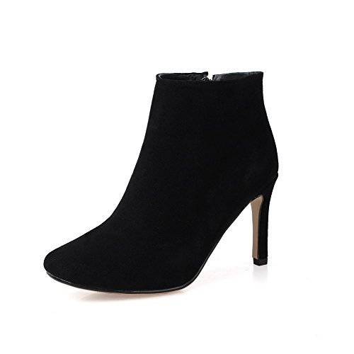 Materials Blend Frosted Boots Non Allhqfashion Slipping Sole Black Heels with High Women's wg7qttxE