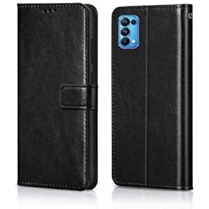 Jotech® Vintage Leather Flip Cover Case for Reno 6 Pro 5G [Black]
