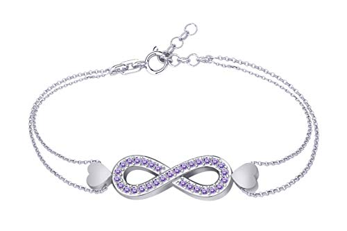 AFFY Round Shape Simulated Alexandrite Infinity Link Chain Bracelets in 14k White Gold Over Sterling Silver 7.5