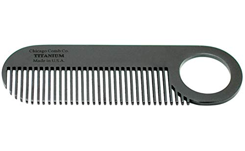 Chicago Comb Model 2 Black Titanium, Made in USA, Ultimate Daily Use Beard & Mustache comb, Pure American Titanium, Anti-Static, Patented Design, Ultra-Smooth, Strong, Light, 4 in. (10 cm)
