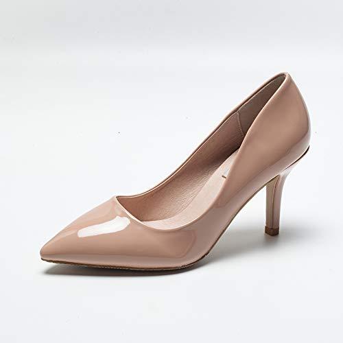 HRCxue Pumps Nude Farbe High Heel Damen fein mit 5cm 5cm 5cm Lackleder-Profischuhe Spitze Wilde Arbeitsschuhe Schwarze Einzelschuhe, 37, nackte Aprikose 9cm 862c8c