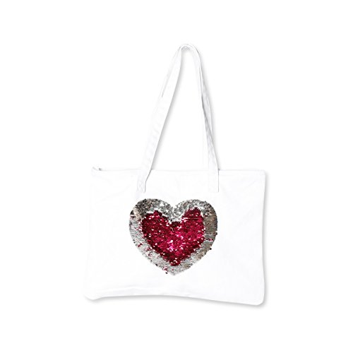 Reversible Pink Hearts (Canvas Tote Mermaid Reversible Sequin Heart {Pink & Silver} Funky Monkey Fashion)