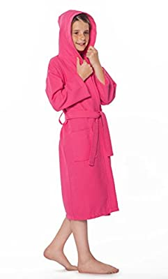 100% Turkish Cotton Spa Party, Flower Girl Hooded Kid's Waffle Robe Made in Turkey