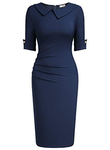 AISIZE Women 1940s Vintage Asymmetric Collar Pleated Dress Medium Navy Blue