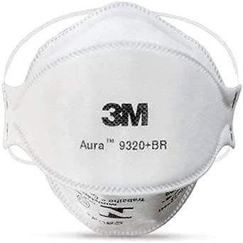 Máscara 3M Aura 9320 +Br Respirador Sem Válvula - Produto Original 3M Lacrado - Embalado Individualmente cada Máscara - SOS Mascaras - FBA