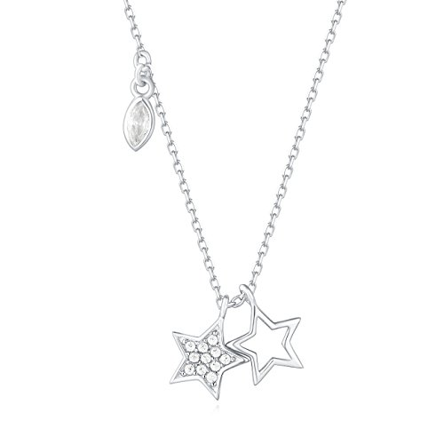 Carleen 18K White Gold Plated 925 Sterling Silver Round and Marquise Cut CZ Cubic Zirconia Duo Star Petite Dainty Pendant Necklace for Women Girls with 15.75
