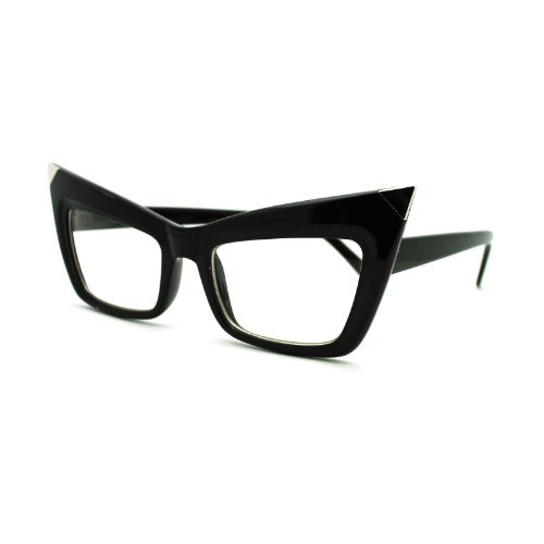 60's Vintage Clear Lens Eyeglasses Iconic Square Cateye Glasses Black